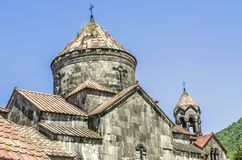 Round dome of the Gregory the Illuminator`s temple with  cross in the monastery of Haghpat Stock Image