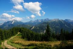 View of route in polish tatry Stock Images