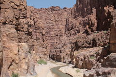 View of the route in the Siq, reserve mujib,jordan Royalty Free Stock Photography