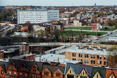 View of row houses and distant buildings from Mount Vernon, in B Stock Image