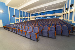 View on rows of comfortable blue chairs cinema Royalty Free Stock Photography