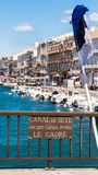 View of the royal canal in Sete, Languedoc Roussillon, France. Copy space for text. Vertical. Stock Photo
