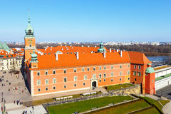 View of  Royal Castle on the Castle Square in the Old Town of Warsaw, Poland Royalty Free Stock Photos