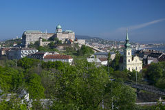 View of Royal Castle from Gellert hill in Budapest, Hungary Royalty Free Stock Image