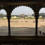 The view of the royal courtyard of Mysore Palace Stock Image
