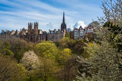 View of the Royal Mile in Springtime from Princes Street Gardens. The Royal Mile in Edinburgh With Princes Street Gardens in the Foreground stock image