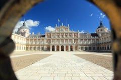 Aranjuez. The view of Royal palace of Aranjuez through the bar Stock Photos
