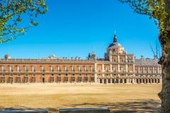 View at the Royal Palace of Aranjuez. ARANJUEZ,SPAIN - APRIL 24,2016 - View at the Royal Palace of Aranjuez. The Royal Palace of Aranjuez is a residence of the Stock Photos