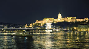 Budapest at night. View of Royal  palace in Budapest  at night Royalty Free Stock Photo