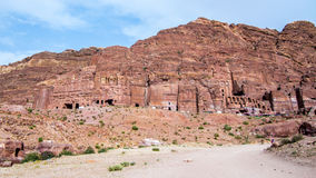 View of the Royal Tombs in Petra, Jordan Royalty Free Stock Photos