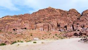 View of the Royal Tombs in Petra, Jordan Stock Photos