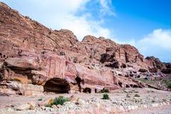 View of the Royal Tombs in Petra, Jordan Royalty Free Stock Image