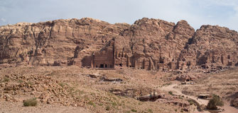 View of the Royal Tombs in Petra Stock Photo