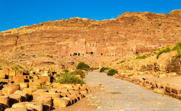 View of the Royal Tombs at Petra, UNESCO world heritage site Stock Photos