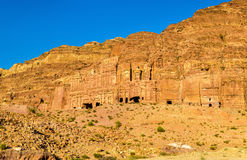 View of the Royal Tombs at Petra, UNESCO world heritage site Royalty Free Stock Images