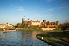 View of Royal Wawel castle with park. Stock Images