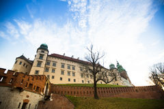 View of Royal Wawel castle with park Stock Photo