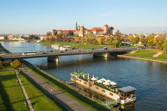 View of Royal Wawel castle with park. The monument to the history of the Decree of the President Lech Walesa on Sep 8, 1994. Stock Photo