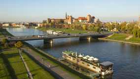 View of Royal Wawel castle and Vistula River. Stock Photo