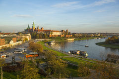 View of Royal Wawel castle and Vistula River. Royalty Free Stock Image