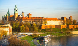 View of Royal Wawel castle and Vistula river Stock Images