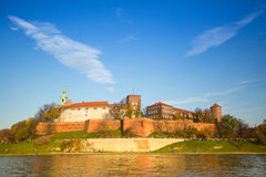View of Royal Wawel castle and Vistula river Stock Image