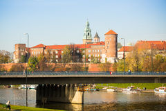 View of Royal Wawel castle and Vistula river Royalty Free Stock Photos