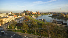 View of Royal Wawel castle and Vistula River. The monument to the history of the Decree of the President Lech Walesa Stock Photography