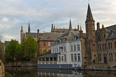 View from Rozenhoedkaai in Bruges, Belgium Royalty Free Stock Images