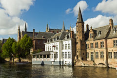 View from Rozenhoedkaai in Bruges, Belgium Royalty Free Stock Image