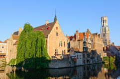 View from the Rozenhoedkaai of the Old Town of Bruges, Belgium Stock Photography