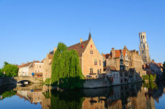 View from the Rozenhoedkaai of the Old Town of Bruges, Belgium Royalty Free Stock Photos
