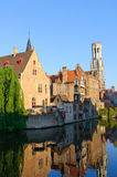 View from the Rozenhoedkaai of the Old Town of Bruges, Belgium Royalty Free Stock Photo