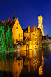 View from the Rozenhoedkaai of the Old Town of Bruges at dusk Royalty Free Stock Photo