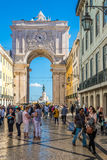View at the Rua Augusta Arch from the street in Lisbon - Portugal. LISBON,PORTUGAL - MAY 18,2017 - View at the Rua Augusta Arch from the street in Lisbon. Lisbon Royalty Free Stock Photography
