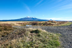 View of Ruapehu from the desert road in New Zealand Stock Photo