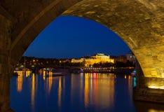 View of the Rudolfinum Prague at night Stock Images