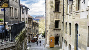 View of Rue du Perron from the start of jean calvin street Stock Photography