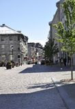 Montreal 26th June: Street view from Old Montreal in Canada. View of Rue Notre Dame from Vieux Montreal city in Canada on 26th June 2017 royalty free stock image