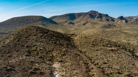 Aerial View Of Spur Cross Ranch Regional Park Near Cave Creek, Arizona. View of rugged hills, mountains, and desert landscape in Spur Cross Ranch Regional Park royalty free stock photos