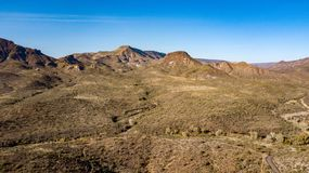 Aerial View Of Spur Cross Ranch Regional Park Near Cave Creek, Arizona. View of rugged hills, mountains, and desert landscape in Spur Cross Ranch Regional Park royalty free stock photo
