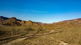Aerial View Of Spur Cross Ranch Regional Park Near Cave Creek, Arizona. View of rugged hills, mountains, and desert landscape in Spur Cross Ranch Regional Park royalty free stock images