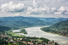 View from Ruin castle of Visegrad, Hungary, Danube river. View from Ruin castle of Visegrad, Hungary. Danube river. Travel destination. Sightseeing cruises Royalty Free Stock Image