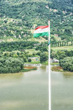 View from ruin castle of Visegrad, Hungary, hungarian flag, Danu Stock Photography