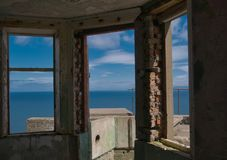 View from a ruin to the sea in Northern Ireland stock image