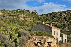 Corsica-ruines near Sagone. A view of the ruines near town Sagone on the island of Corsica in France stock photo