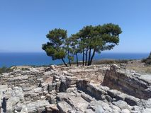 View from ruins, Lindos Rhodes Greece royalty free stock photo