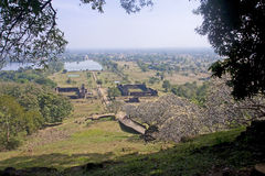 View of the ruins of the ancient city in Champasak Stock Images