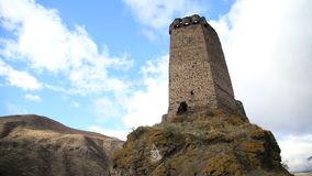 View of the ruins of an ancient fortress. Tower of an ancient fortress stock footage