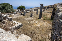 View of ruins of Basilica at Ancient Thira, Santorini Royalty Free Stock Images
